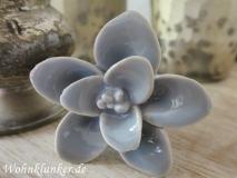 Wundervoller Möbelknopf, Porzellanblume, grau