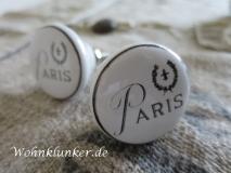 Weißer Möbelknopf,Porzellan, Paris