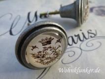 Möbelknopf Vintage, Metall, silber