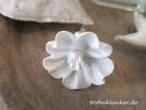 Möbelknopf aus Porzellan, weiße Margerite
