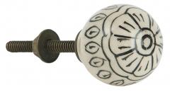 Weißer Möbelknopf, handgefertigt mit schwarzer Zeichnung * Ib Laursen *