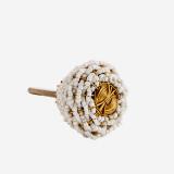 Möbelknopf mit Perlen weiß/gold Madam Stoltz